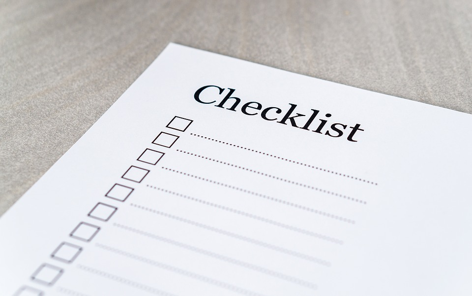 a check list paper in white paper