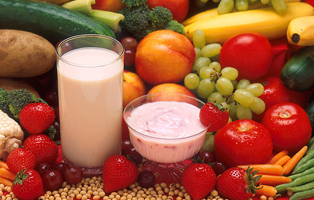 fruits, vegetables, yogurt and one glass of milk